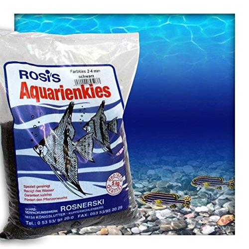 Farbkies Schwarz Aquarium Deko Kies Aquariengrund Aquariumkies Bodengrund Körnung 2-4 mm 5 kg (1x 5 kg Beutel)