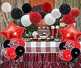 JOYMEMO Decorazioni per Feste Rosse e Nere con Carta velina e Palloncini per Festa di Compleanno di Minnie Mouse, Boscaiolo, Coccinella o Pirata, Baby Shower