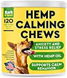 Calming Hemp Treats for Dogs - Made in USA with Hemp Oil - Anxiety Relief - Separation Aid - Stress Relief During Fireworks, Storms, Thunder - Aggressive Behavior, Barking - 120 Soft Chews