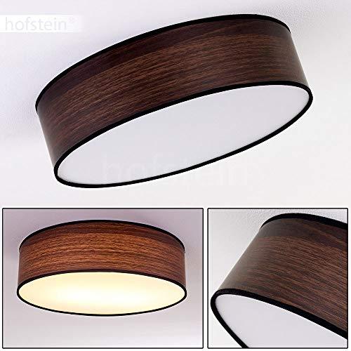 Deckenleuchte Chazy, runde Deckenlampe aus Kunststoff/Textil in Weiß/Braun/Holzoptik, 1-flammig, 1 x E27-Fassung, 15 Watt, Retro/Vintage-Design, geeignet für LED Leuchtmittel