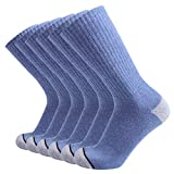 Enerwear 6P Pack Men's Cotton Moisture Wicking Heavy Cushion Crew Socks (10-13/shoe size 6-12 (6 Pair), Black)