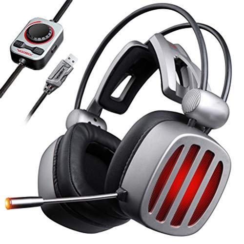 VISZC Casque Gaming pc 7.1 Virtual Surroun - Casque Gaming Headset pour Micro-Grey