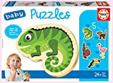 Educa - Baby Puzzles, puzzle infantil Animales Tropicales, 5 puzzles progresivos de 2 a 5 piezas, a partir de 24 meses (18587)