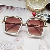 PPuujia Gafas de sol cuadradas de lujo con marco de cadena de aleación, para mujer, hombre, diseño de marca, gafas de moda, gafas de moda, lentes de tendencia (color: C3 blanco té)