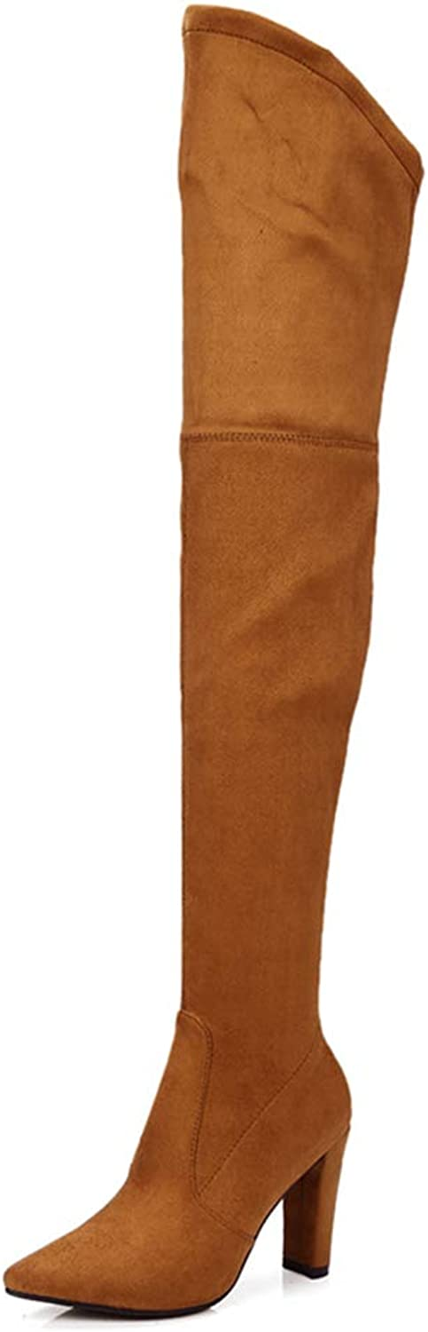 GEORPE Thigh High Boots High Heel Pointed Toe Over The Knee Boots