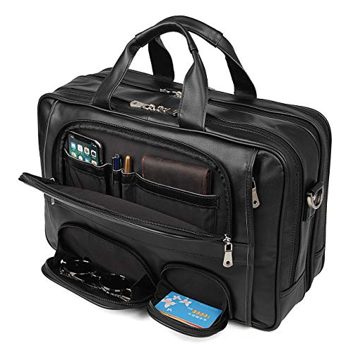 YOGCI Leather Briefcase for Men,Laptop Messenger Bag for Business Travel, Fits 14 15.6 Inch Computer (Black)