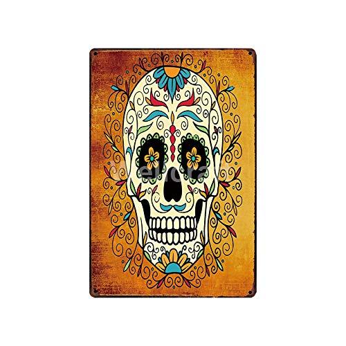 Sugar Skull Metal Plaque Wall Tin Sign Poster Art Painting Custom Bar Decoration SA-1982