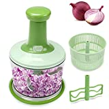 FAVIA 4 Cup Onion Food Chopper for Salsa Pesto Coleslaw Puree, Egg Mixer & Mini Salad Spinner Set - Handheld Mincer to...