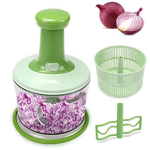 FAVIA 4 Cup Onion Food Chopper for Salsa Pesto Coleslaw Puree, Egg Mixer & Mini Salad Spinner Set - Handheld Mincer to Chop Nuts Vegetables Fruits Herbs Seasonings - BPA Free Dishwasher Safe