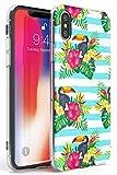Case Warehouse Modelo de Moda Tropical Tucán Slim Funda para iPhone XR TPU Protector Ligero Phone Protectora con Floral Sabroso Moda Verano Flores