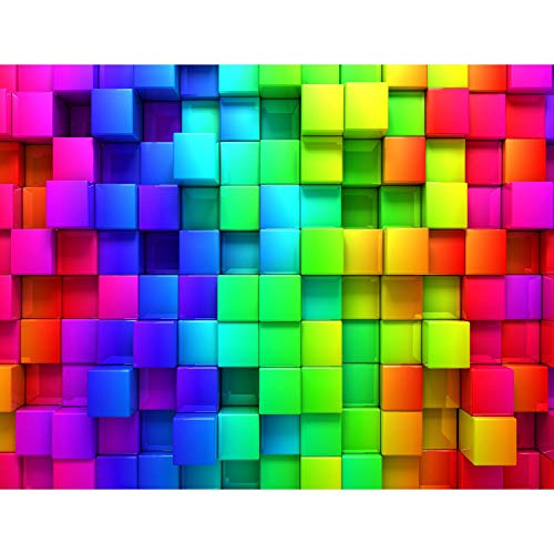 Fototapete Abstrakt 3D würfel 352 x 250 cm Vlies Tapeten Wandtapete XXL Moderne Wanddeko Wohnzimmer Schlafzimmer Büro Flur Bunt 9078011a