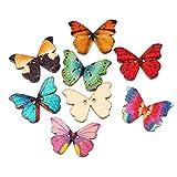 SiAura Material - 50 bottoni in legno a forma di farfalla, 28 mm x 21 mm, colori assortiti, 2 fori, per cucito, bricolage e decorazione