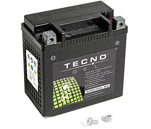 Premium TECNO-GEL Motorrad-Batterie HD14HL-BS = VTB-3 TWIN für HARLEY DAVIDSON XL 883, C, N, L, R Sportster 2004-2017, 12V Gel-Batterie 12Ah, 149x87x144 mm inkl. Pfand