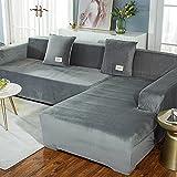 Sonze Cubre Sofa Universal Tejido de Poliéster,elástico Tejido Protector por sofá Funda,Funda de sofá Engrosada, Funda de sofá Antideslizante Todo Incluido-Gris A_145-185cm + 195-230cm