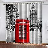 BCDJYFL Cortinas 3D Hermosa Londres Impresión Digital 3D Cortinas Opaca Cocina Salon Dormitorio Moderno Ventana Decorativa.150X166Cm(Ancho X Alto)