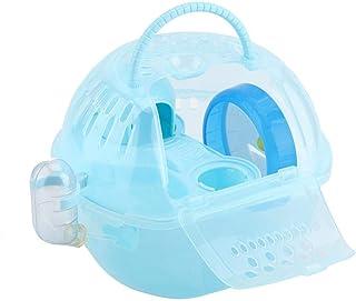 Dootiハムスターキャリー ペットキャリアケージ ハムスターキャリアケース 二層 プラスチック 給水器付き 通気性 外出 ラット・ハムスター・マウス・リス・チンチラ・ハリネズミに適用 移動 旅行 お出かけ(ブルー)