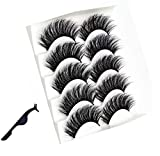 3D Mink Hair False Eyelashes with a Tweezer, Full Strips Thick Cross Long Lashes Wispy Fluffy Eye Makeup Tools, 5 Pairs