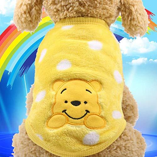 12 Farben-Karikatur-Welpen-Weste Kleidung Warmer Hunde-Bekleidung Chihuahua Französisch Bulldog Winter-Hundemantel für kleine Hunde Haustier-Katze-Kleidung, Winnie Pooh, L
