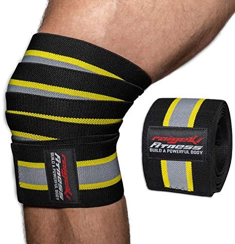 Kniebandagen zum Wickeln Soft [2er Set] (+ Trainingspläne) Elastische Knee Wraps mit Klettverschluss - für Bodybuilding, Kraftsport, Powerlifting, Crossfit & Fitness für Frauen & Männer