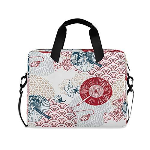 OOWOW - Bolsa para portátil para mujer y hombre, diseño de paraguas japonés, ligero, maletín de 14 15.6 16 pulgadas, funda para ordenador portátil