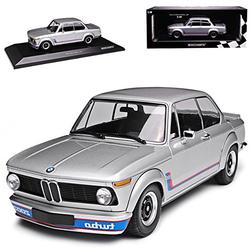 B-M-W 2002 Turbo Silber 1973-1974 1/18 Minichamps Modell Auto mit individiuellem Wunschkennzeichen