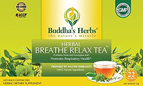 Buddha's Herbs Premium Breathe Relax tea with Eucalyptus, 44 Tea Bags (Pack of 2)