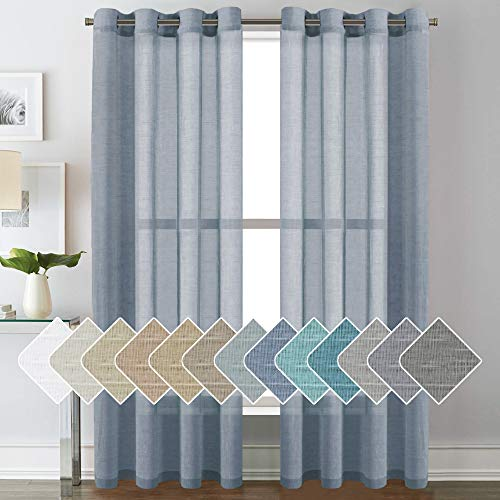 Open Weave Linen Curtains 84 Inches Long Semi Sheer Denim Curtains - Privacy Added Nickel Grommet Linen Curtain Panels for Living Room/Bedroom (2 Panels)