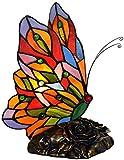 MUZIDP Lámpara de Mesa de Mariposa Lámparas de Noche de Cristal manchada Hecha a Mano Antique Resin Kids Desk Light para la Sala de Estar Dormitorio Café de la Cama Bar
