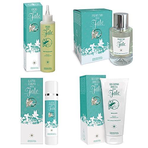 Erboristeria Magentina [Pack delle Fate] Olio 150ml + Latte Corpo 100ml + Shampoo Doccia 200ml + Profumo 50ml