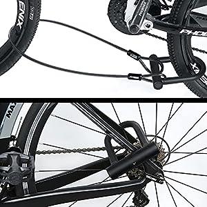 Candado en U Bicicleta, Candado en Forma de U para Bicicleta, Resistente, de Alta Seguridad, con Cable Flexible de Acero de 1,2 m y Soporte de Montaje Resistente para Bicicletas, Motocicletas