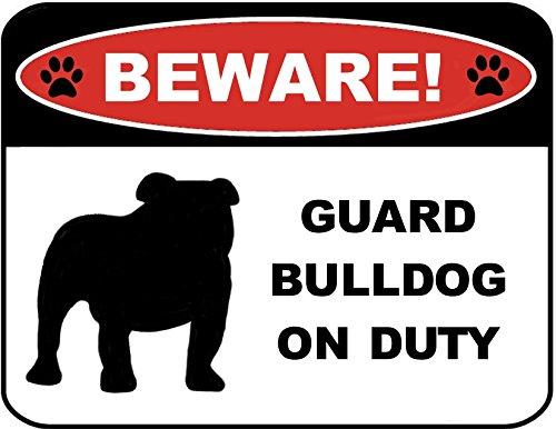 PCSCP Beware Guard Bulldog (Silhouette) (Ver L) on Duty 9 inch x 11.5 inch Laminated Dog Sign