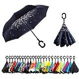 Sumeber Paraguas invertido de Doble Capa con Mango en Forma de C, Plegable, antiUV,...