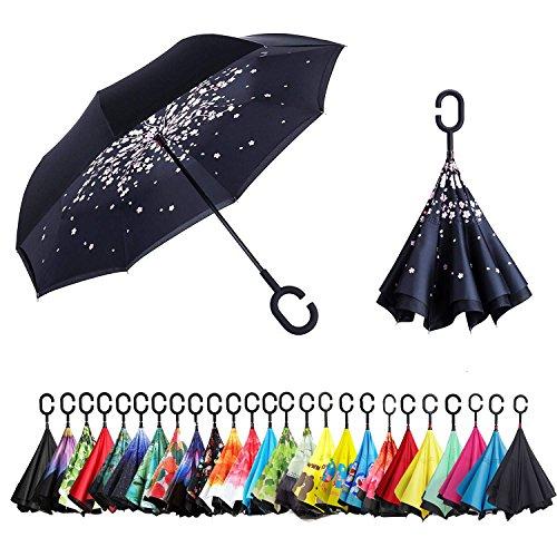 Sumeber Double Layer Reverse Regenschirm mit C Griff Schützen vor Sturm Wind Regen und UV-Strahlung Innovativer Regenschirm (Cherry Flower)