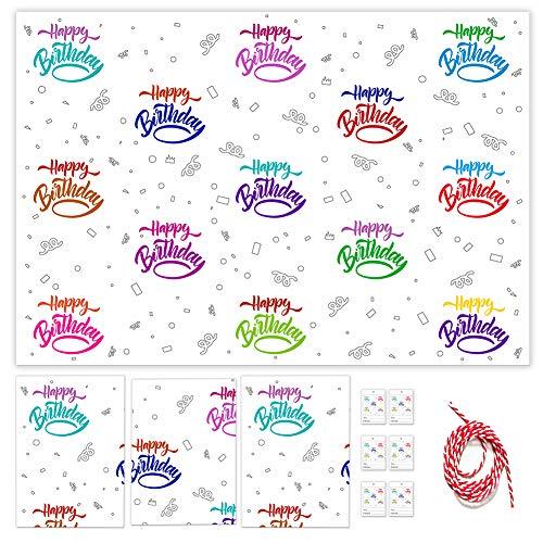 4 Stück Geschenkpapier Geburtstag, Happy Birthday Geschenkpapier Set mit 6pcs Geschenkanhänger und String, Gefaltete Geschenkpapier Bögen für Mädchen Jungen Geburtstag Geschenk Wickeln - 85 * 60 cm