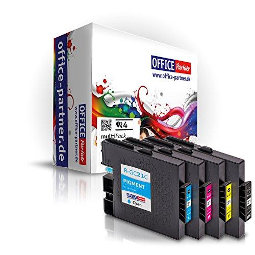 4er Multipack kompatible Druckerpatronen mit Chip zu Ricoh GC 21 Gelpatronen für Ricoh Aficio GX2500, GX3000, GX3050, GX5050, GX7000