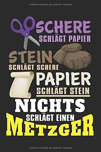 Schere Stein Papier Metzger: Notizbuch Planer Tagebuch Schreibheft Notizblock - Geschenk für Bowling lieben (15,2x229 cm, A5, 6