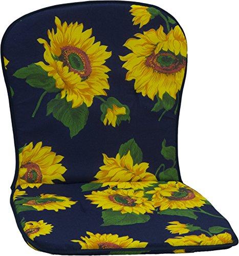 Beo Monoblock Stapelstuhlpolster niedrig mit Sonnenblumenmuster auf dunkelblauen Hintergrund