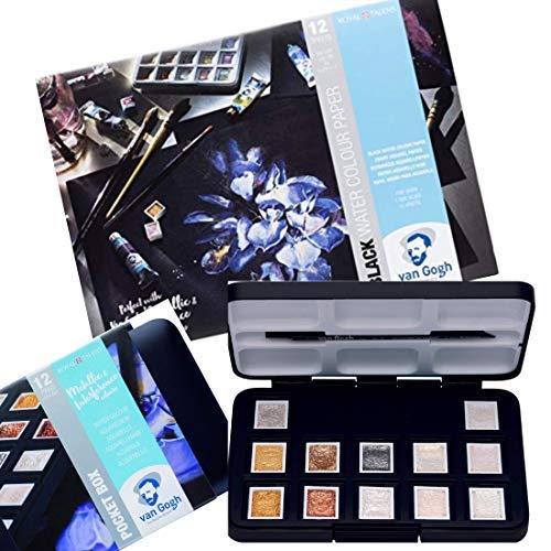 Van Gogh Aquarell Metallic Farben Pocket Box mit schwarzem Aquarellblock