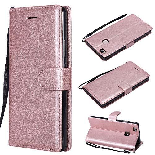 XCYYOO Funda para Huawei P9 Lite Silicona,Huawei P9 Lite Carcasa Libro de Cuero con Tapa de Holster PU y Silicona Elegante,Ranuras de Tarjetas Case Flip Cover(Oro Rosa)