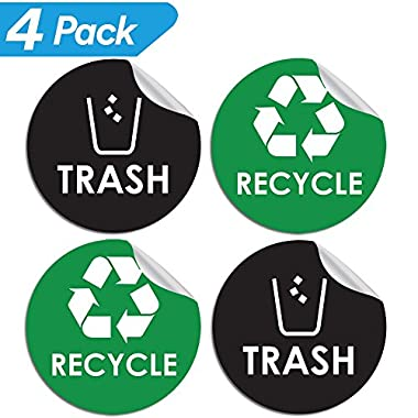 Recycle Sticker Trash Bin Label - 4  x 4  - Organize & Coordinate Garbage Waste from Recycling - Great for Metal Aluminum Steel or Plastic Trash Cans - Indoor & Outdoor - Use at Home Kitchen & Office