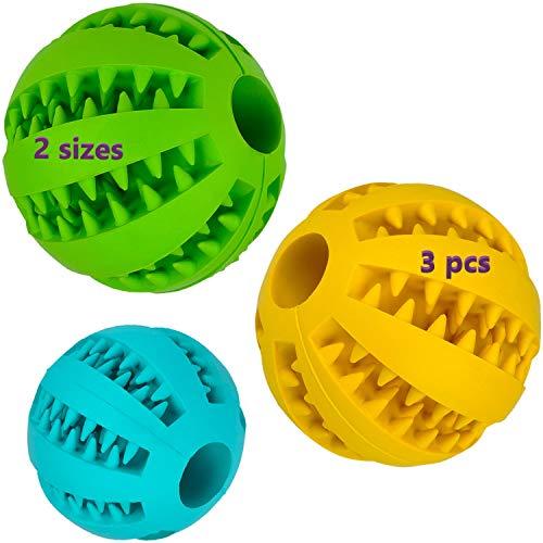 Pelota dental para perros y gatos 3 Uds, resistente, no tóxica. Juego de bolas interactivas dispensadoras de comida. Juguete de goma dura para masticar, limpiar los dientes, jugar, entrenar, adiestrar