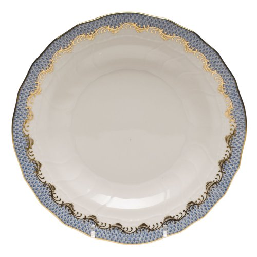 Herend Fish Scale Light Blue Porcelain Dessert Plate