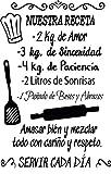 Docliick® Frase Vinilo para cocina o restaurante'NUESTRA RECETA.' Vinilos decorativos Docliick...