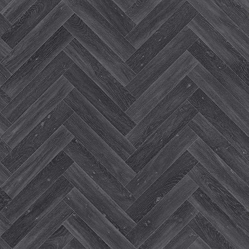 Plaza Black Oak Chevron Anti Slip Wood Effect Cushion Vinyl Flooring Lino (4m x 9.5m)
