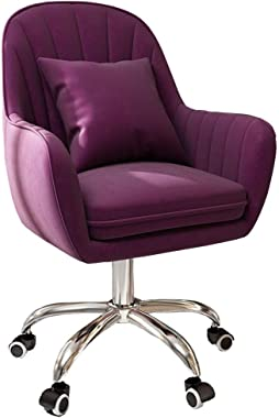 Chaise de bureau en velours avec coussin rembourré, chaise de bureau ergonomique avec hauteur réglable, chaise pivotante conf