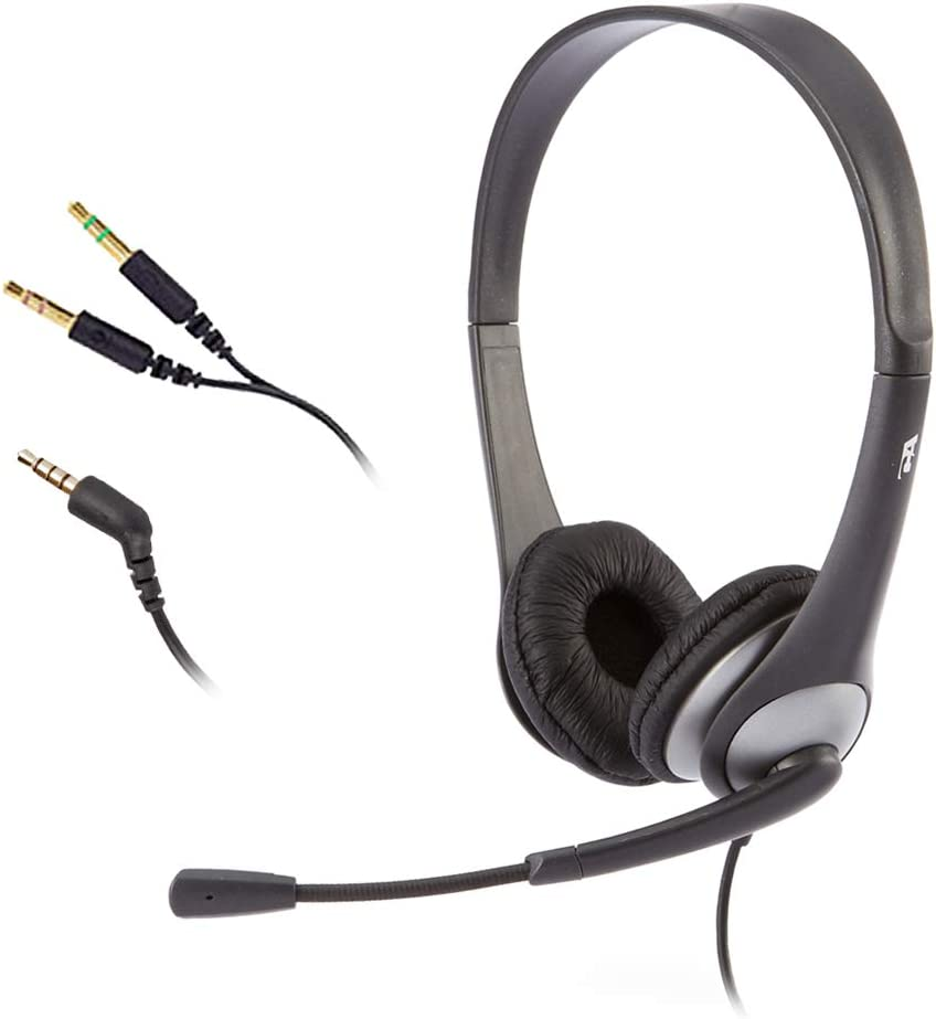 Cyber Acoustics Stereo Headset, 3.5mm stereo & Y-adapter for separate Headphone & Mic Connection, K12 School Classroom and Education (AC-204)