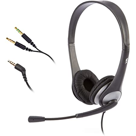 Cyber Acoustics Stereo Headset, headphone with microphone, great for K12 School Classroom and Education (AC-204), Black