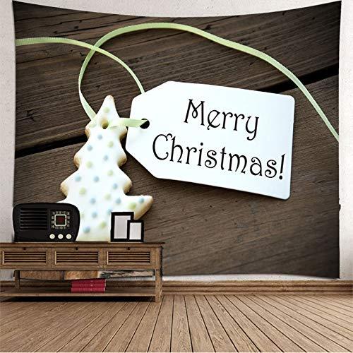 Dreamdge Papel Tapiz para Pared Etiqueta Merry Christmas Árbol de Navidad, Tapiz de Navidad 150x130