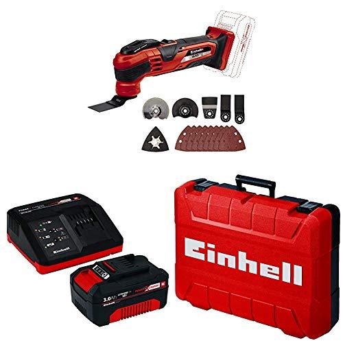 Einhell Akku-Multifunktionswerkzeug Varrito Power X-Change + Starter Kit Akku und Ladegerät Power X-Change + Koffer E-Box M55/40 für universelle Aufbewahrung von Werkzeug und Zubehör