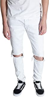Men's Tapered Skinny Fit Stretch Colored Denim Destroyed Knee Ankle Zip Jeans